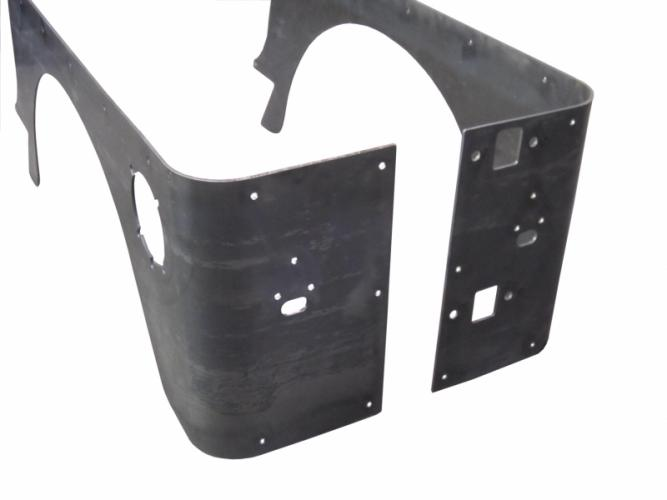 TNT Jeep TJ Corner Armor No Flare rear view,stock light